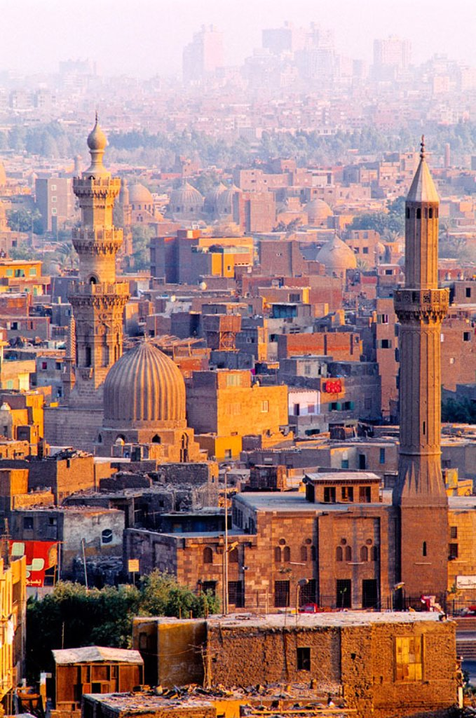 Overview on old Cairo from the citadel at dusk. Cairo. Egypt : Stock Photo