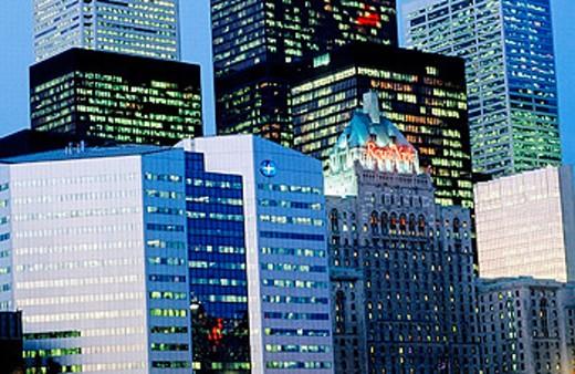 Stock Photo: 1566-0199666 City skyline of Toronto at night. Ontario. Canada
