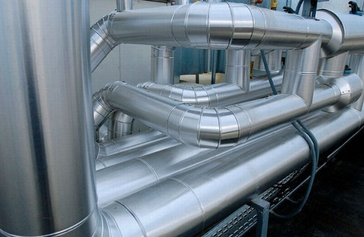 Stock Photo: 1566-0200733 Air conditioning pipes. Hotel
