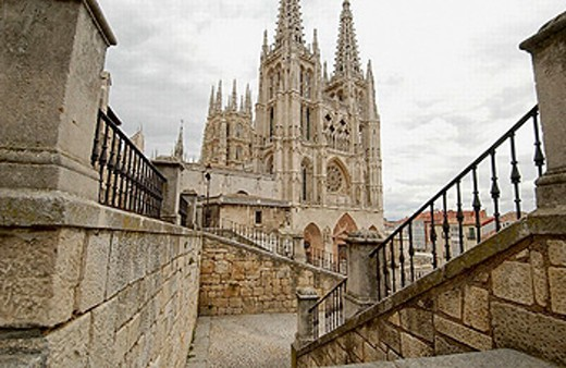 Main facade of the Cathedral. Santa María Square. Burgos. Castilla-León. Spain : Stock Photo