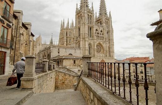 Main facade of the Cathedral. Santa María Square. Burgos. Castilla-León. Spain : Stock Photo