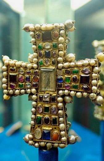 Byzantine cross preserved in the treasure museum of Notre Dame cathedral. Tournai. Hainaut, Belgium : Stock Photo