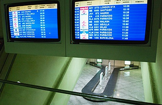 Stock Photo: 1566-0200947 Information screens. Luggage conveyor. Arrivals. Loiu Airport. Bilbao. Euskadi. Spain.