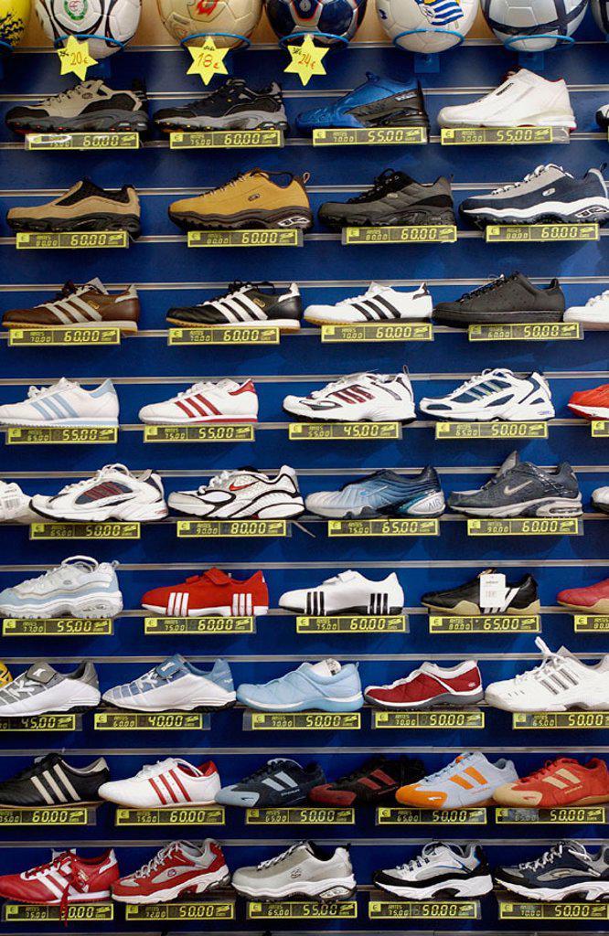 Stock Photo: 1566-0201078 Sport shoes. Shoe shop.