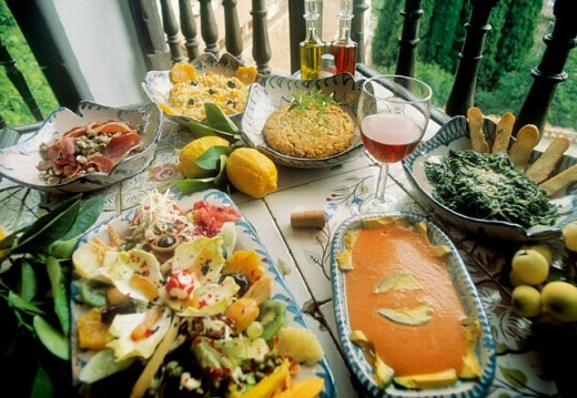 Typical dishes from Granada: salmorejo, tortilla Sacromonte, tropical coast salad, etc. in Mirador de Morayma restaurant. Granada. Spain : Stock Photo
