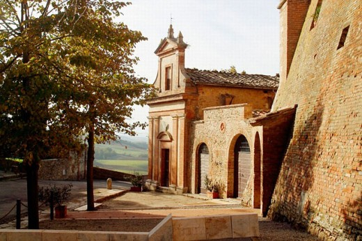 Church. San Giovanni d´Asso. Siena province, Tuscany, Italy : Stock Photo
