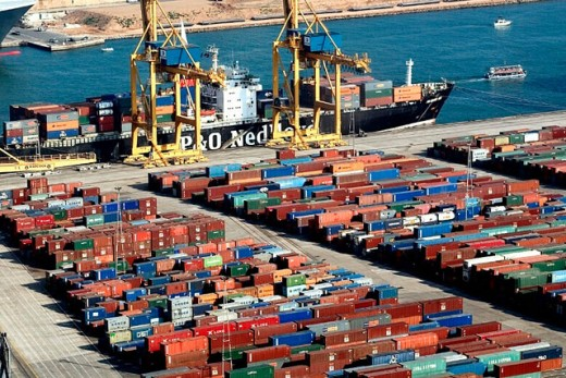 Stock Photo: 1566-0203934 Port of Barcelona. Spain, Commercial area