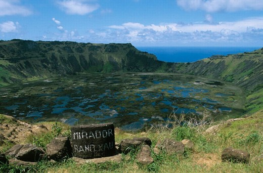 Stock Photo: 1566-0204136 Caldera, Rano Kau, Orongo. Easter Island. Chile.