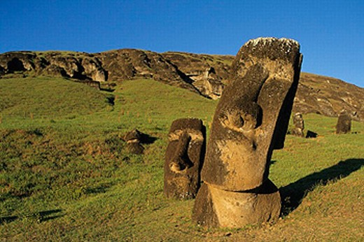Stock Photo: 1566-0204199 Moai quarry. Ranu Raraku. Easter Island. Chile.