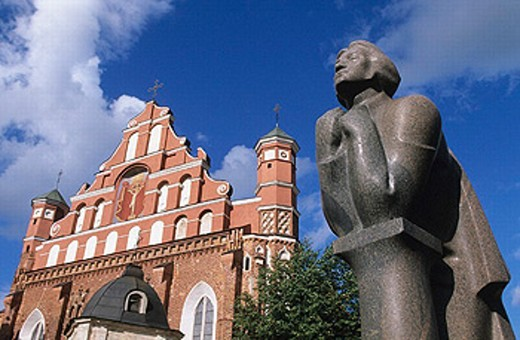 Statue of Adam Mickiewicz. St. Anne´s Church. Vilnius. Lithuania. : Stock Photo