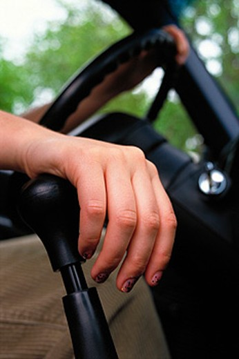 Hand on gear shift : Stock Photo