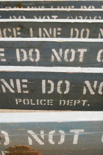 Police barricades. : Stock Photo