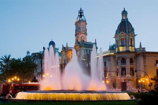 Stock Photo: 1566-0206663 City Hall Square. Valencia. Spain
