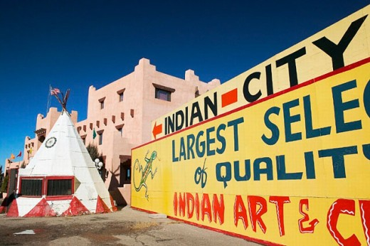 Stock Photo: 1566-0206828 Indian market details at Indian City trading post. Allentown. Arizona, USA