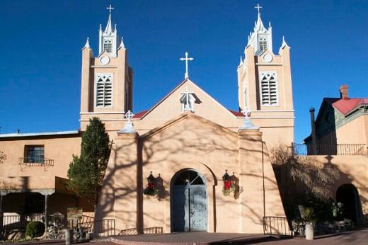 Stock Photo: 1566-0206950 San Felipe de Neri Church founded in 1706, old town Albuquerque. New Mexico, USA