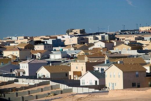 New tract houses, Albuquerque suburbs. Bernalillo. New Mexico, USA : Stock Photo
