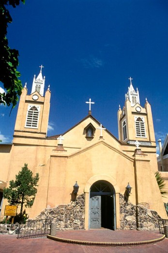San Felipe de Neri Church founded in 1706, old town Albuquerque. New Mexico, USA : Stock Photo
