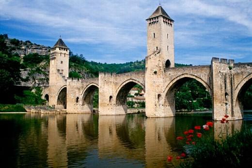 Valentré Bridge dating 14th century. Cahors. France : Stock Photo