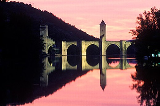 Valentré Bridge dating 14th century. Cahors. France : Stock Photo