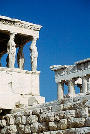 Stock Photo: 1566-0209421 Porch of the Maidens, cariathides of the Erechtheion. Acropolis, Athens. Greece