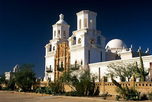 Stock Photo: 1566-0209537 Mission San Xavier del Bac (aka White Dove of the Desert). Tucson. Arizona. USA