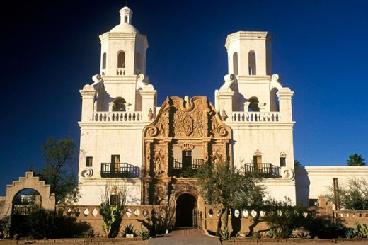 Stock Photo: 1566-0209538 Mission San Xavier del Bac (aka White Dove of the Desert). Tucson. Arizona. USA