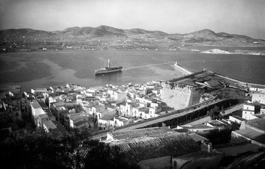 Vintage photograph. Dalt villa, Ibiza (Eivissa). Balearic Islands. Spain : Stock Photo