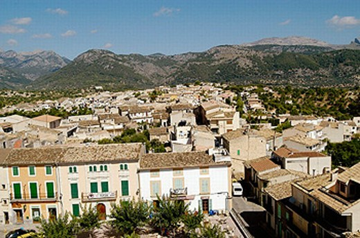 General view of Campanet, as seen from the bell tower of the parish church. Majorca. Balearic Islands. Spain : Stock Photo