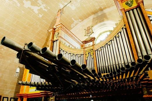 Historical organ of Lloret de Vistalegre church. Majorca. Balearic Islands. Spain : Stock Photo