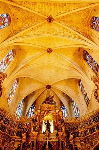 Stock Photo: 1566-0211952 Main chapel of Sant Francesc gothic church. Palma de Mallorca. Majorca. Balearic Islands. Spain