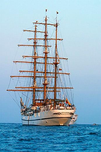 Stock Photo: 1566-0212550 Academy Bay tall ship in harbor. Isla Santa Cruz (Indefatigable Island ), Ecuador (Galapagos Islands)