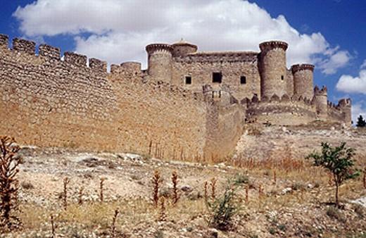 Belmonte castle (built 1456-1470 by Juan Pacheco, Marquis of Villena). Belmonte. Cuenca province, La Mancha. Spain : Stock Photo