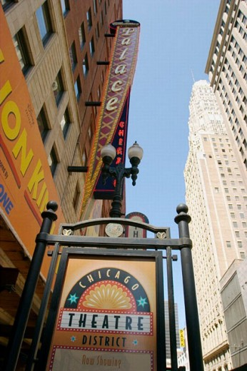 Chicago Theatre district sign, Palace theater sign, view from below. Chicago. Illinois. USA : Stock Photo