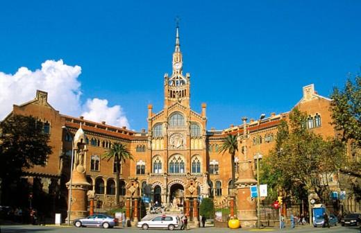 Hospital de Sant Pau (1902-1912 by Lluís Domènech i Montaner). Barcelona. Spain : Stock Photo