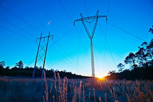 Power Lines, Sunset, Panama City, FL, USA : Stock Photo