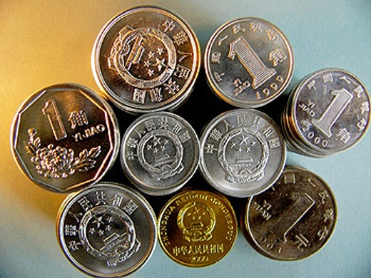 Stock Photo: 1566-0217013 Chinese yuan coins.