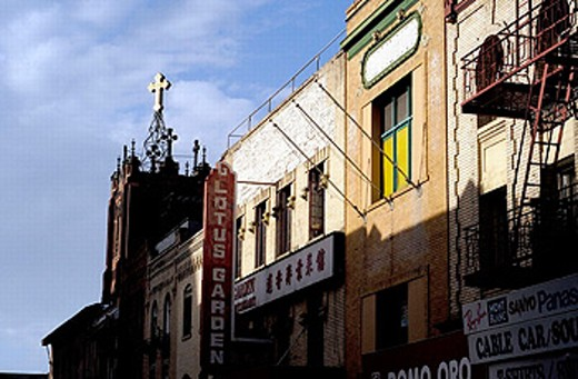 Church and storefronts in Chinese. San Francisco, California. USA. : Stock Photo