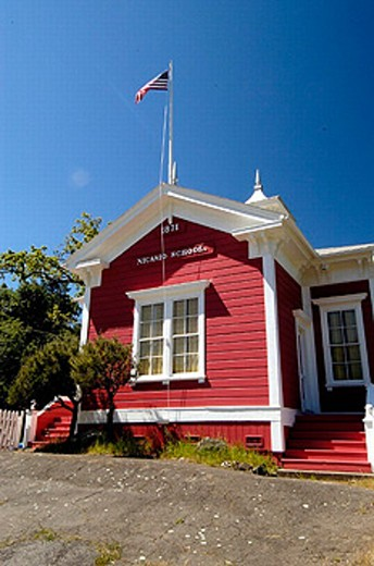 Red school house. Nicasio, California. USA. : Stock Photo