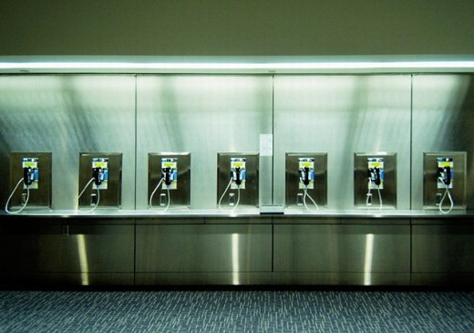Row of telephones at airport. San Francisco, California. USA. : Stock Photo