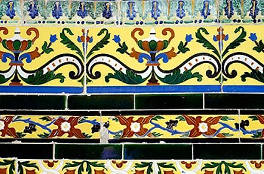 Colorful porcelain tile design. Osuna. Andalucia. Spain : Stock Photo
