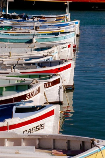 Painted boats in the Port of Cassis. Cassis. France : Stock Photo