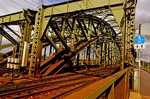 Railroad tracks across the Hohenzollern Bridge. Cologne. Germany : Stock Photo
