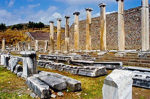 Stock Photo: 1566-0218515 Ruins of colonnaded marble street in the Asclepion, an ancient medical center. Pergamum. Turkey
