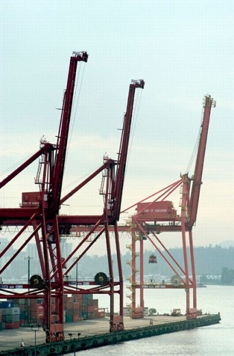 Loading cranes at the port. Vancouver. British Columbia. Canada : Stock Photo