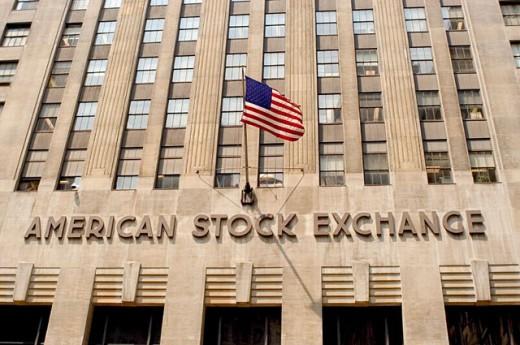 Façade of American Stock Exchange building. New York City. USA : Stock Photo