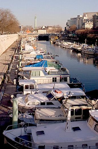 Arsenal port near the Bastille. Paris. France : Stock Photo