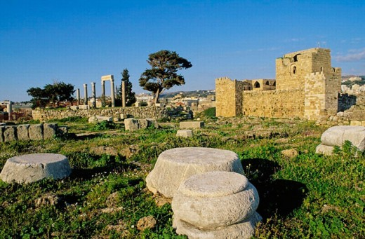 Crusaders´ Castle. Byblos, archaeological site. Lebanon. : Stock Photo