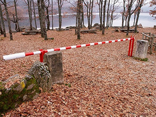 Stock Photo: 1566-0219204 Barrier at the entrance to Sanabria Lake Natural Park. Zamora province, Spain