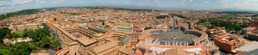 Stock Photo: 1566-0220230 Vatican museums and St. Peter´s Square seen from St. Peter´s dome. Vatican City. Rome. Italy