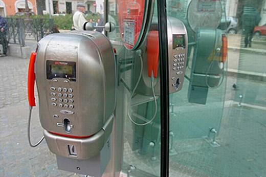Stock Photo: 1566-0220284 Public phone. Piazza di Spagna. Rome. Italy